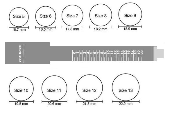 This is an image of Ring Sizing Chart Printable within size 11